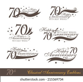 Anniversary 70th signs collection in classic style. Template of birthday celebration and jubilee emblems  with numbers and copy space on the ribbons.