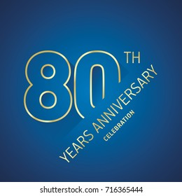 Anniversary 80th years celebration logo gold blue greeting card