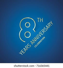 Anniversary 8th years celebration logo gold blue greeting card