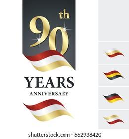 Anniversary 90 th years celebrating logo red white gold ribbon