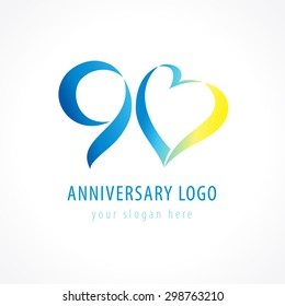 Anniversary 90 years old hearts celebrating vector digit logo. Birthday greetings with framed tape heart shape. Holiday abstract numbers or letter o. Lovely card with celebrating figures 90 th.