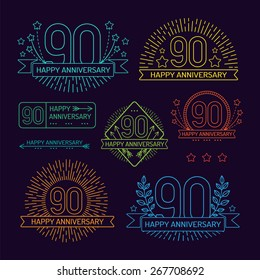 Anniversary 90th signs collection in outline style. Celebration labels with sunburst elements.