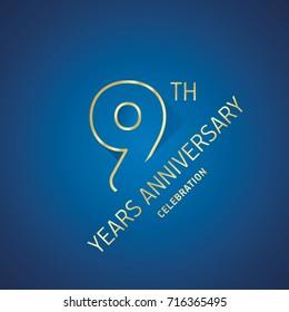 Anniversary 9th years celebration logo gold blue greeting card