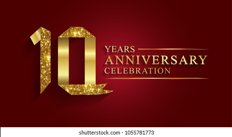 anniversary, aniversary, 10 years anniversary celebration logotype. Logo,ribbon golden number on red background.Numbers ribbon gold foil.