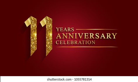 anniversary, aniversary, 11 years anniversary celebration logotype. Logo,ribbon golden number on red background.Numbers ribbon gold foil.