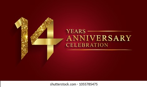 anniversary, aniversary, 14 years anniversary celebration logotype. Logo,ribbon golden number on red background.Numbers ribbon gold foil.