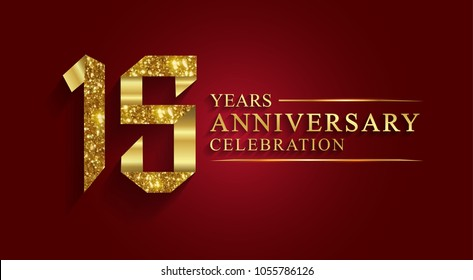 anniversary, aniversary, 15 years anniversary celebration logotype. Logo,ribbon golden number on red background.Numbers ribbon gold foil.