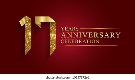 anniversary, aniversary, 17 years anniversary celebration logotype. Logo,ribbon golden number on red background.Numbers ribbon gold foil.