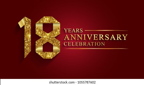 anniversary, aniversary, 18 years anniversary celebration logotype. Logo,ribbon golden number on red background.Numbers ribbon gold foil.
