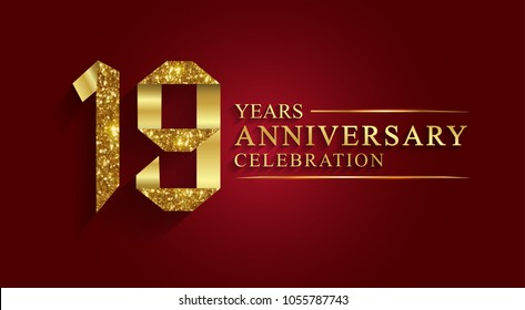 anniversary, aniversary, 19 years anniversary celebration logotype. Logo,ribbon golden number on red background.Numbers ribbon gold foil.