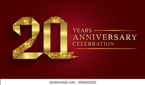 anniversary, aniversary, 20 years anniversary celebration logotype. Logo,ribbon golden number on red background.Numbers ribbon gold foil.