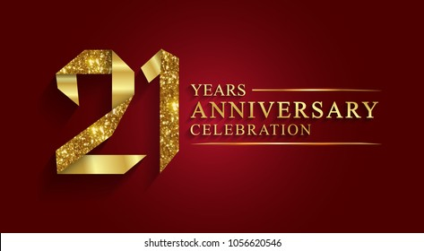 anniversary, aniversary, 21 years anniversary celebration logotype. Logo,ribbon golden number on red background.Numbers ribbon gold foil.