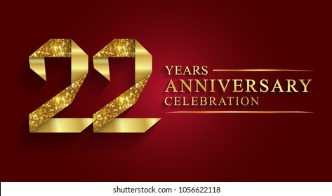 anniversary, aniversary, 22 years anniversary celebration logotype. Logo,ribbon golden number on red background.Numbers ribbon gold foil.