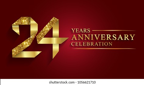 anniversary, aniversary, 24 years anniversary celebration logotype. Logo,ribbon golden number on red background.Numbers ribbon gold foil.