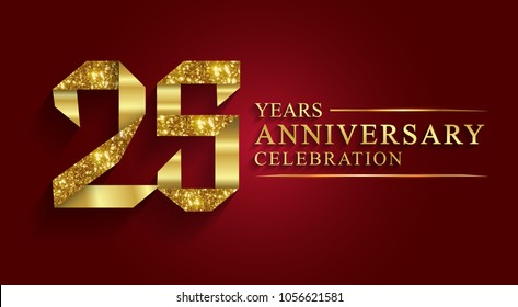 anniversary, aniversary, 25 years anniversary celebration logotype. Logo,ribbon golden number on red background.Numbers ribbon gold foil.