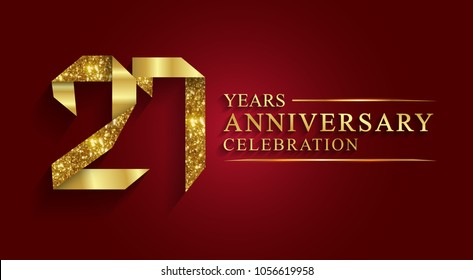 anniversary, aniversary, 27 years anniversary celebration logotype. Logo,ribbon golden number on red background.Numbers ribbon gold foil.