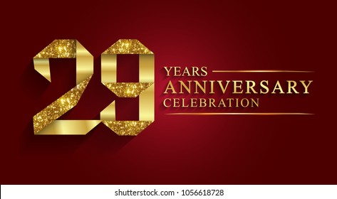 anniversary, aniversary, 29 years anniversary celebration logotype. Logo,ribbon golden number on red background.Numbers ribbon gold foil.