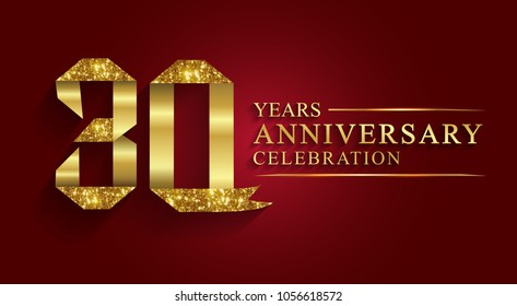 anniversary, aniversary, 30 years anniversary celebration logotype. Logo,ribbon golden number on red background.Numbers ribbon gold foil.