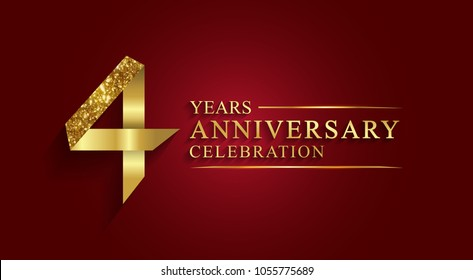anniversary, aniversary, 4 years anniversary celebration logotype. Logo,ribbon golden number on red background.Numbers ribbon gold foil.