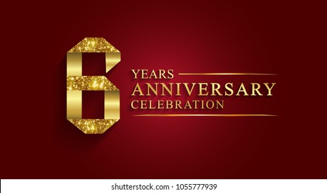 anniversary, aniversary, 6 years anniversary celebration logotype. Logo,ribbon golden number on red background.Numbers ribbon gold foil.