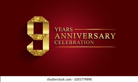 anniversary, aniversary, 9 years anniversary celebration logotype. Logo,ribbon golden number on red background.Numbers ribbon gold foil.