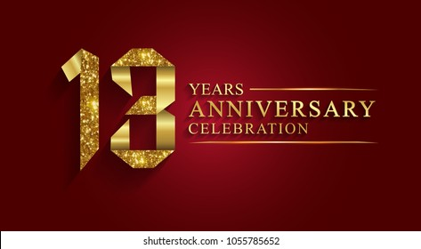 anniversary, aniversary,13 years anniversary celebration logotype. Logo,ribbon golden number on red background.Numbers ribbon gold foil.