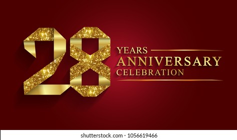 anniversary, aniversary,28 years anniversary celebration logotype. Logo,ribbon golden number on red background.Numbers ribbon gold foil.