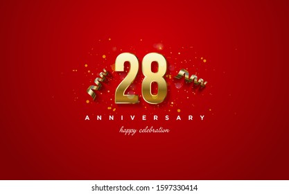 Anniversary background with 28th gold colored illustrations on a red background.