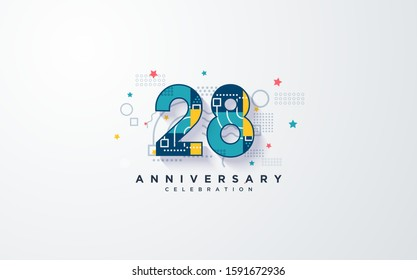"""anniversary background with colorful 28th numbers. and with the word """"Anniversary Celebration"""" in dark blue."""