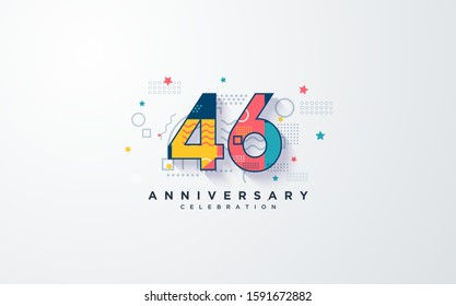 "anniversary background with colorful 46th numbers. and with the word ""Anniversary Celebration"" in dark blue."