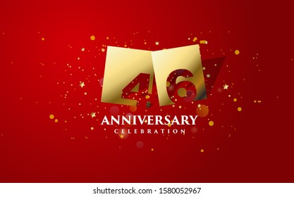 Anniversary background with gold square illustration with 46th number cut inside. design can be used for congratulations and so on.