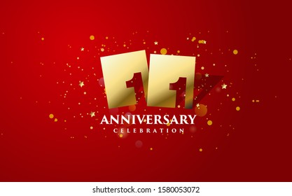 Anniversary background with gold square illustration with 11th number cut inside. design can be used for congratulations and so on.