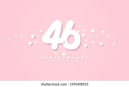 Anniversary background with illustration of paper cut number 46th with the shape of love spread on a pink background.
