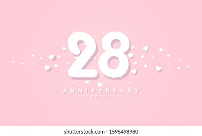Anniversary background with illustration of paper cut number 28th with the shape of love spread on a pink background.