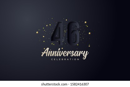 anniversary background with illustrations of 46th black numbers and colorful little gold sparks.