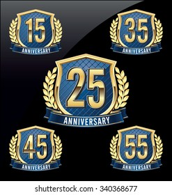 Anniversary Badge Gold and Blue 15th, 25th, 35th, 45th, 55th Years