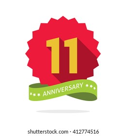 Anniversary badge with shadow on red starburst and yellow number 11 eleven.11th years anniversary icon, eleventh years symbol, green ribbon, vector emblem isolated on white