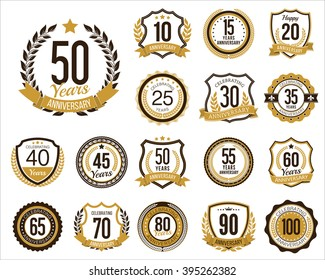 Anniversary Badges. Set of Golden Anniversary Signs. Vintage.