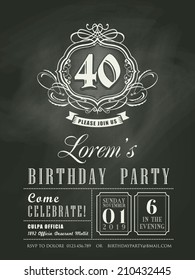 Anniversary birthday Invitation card chalkboard background