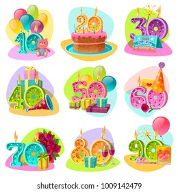 Anniversary candle numbers for birthday cake with celebration accessories and gifts retro set isolated vector illustration