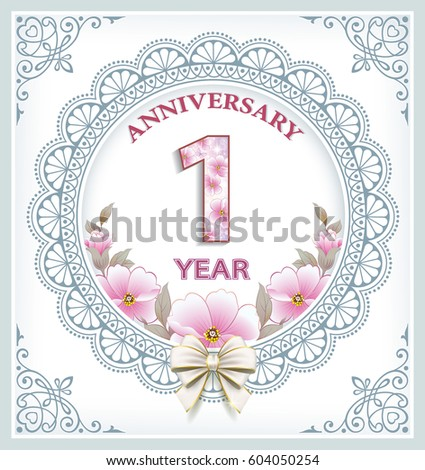 Anniversary Card 1 Year Frame Ornament Stock Vector Royalty Free