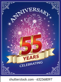 Anniversary card 55 years in a frame with ornament and firework on a blue background. Vector illustration