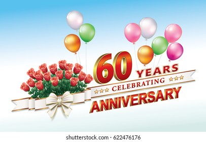 Anniversary card 60 years old with a bouquet of roses and balloons. Vector illustration