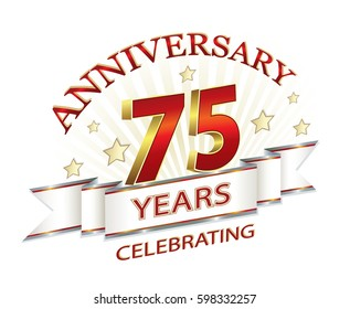 Anniversary card with 75 years on a light background. Vector illustration