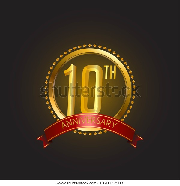 Anniversary Card Template Design Golden Elegant Stock Vector ...
