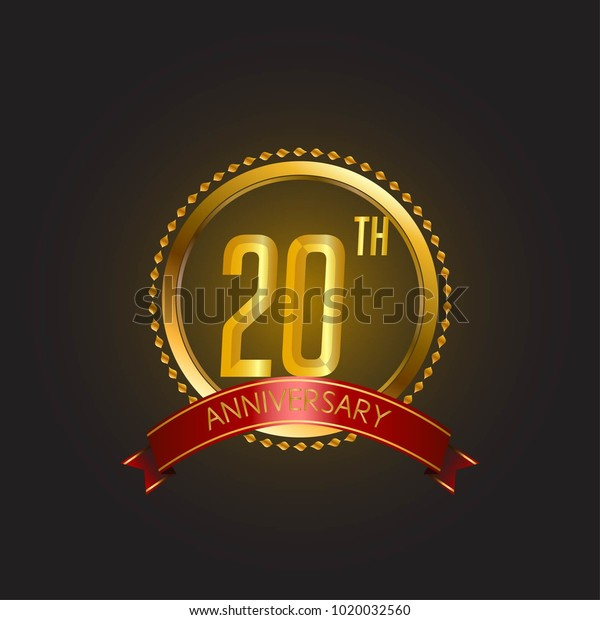 Anniversary Card Template Design Golden Elegant Stock Vector ...