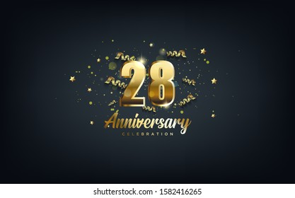 anniversary celebration background. with the 28th number in gold and with the words golden anniversary celebration.