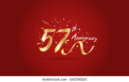 Anniversary celebration background. with the 57th number in gold and with the words golden anniversary celebration.