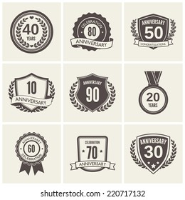 Anniversary celebration black label icons set isolated vector illustration