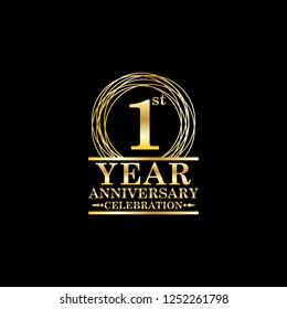 anniversary celebration emblem 1st year anniversary logo with ring and elegance golden color on black background, vector illustration template design for celebration greeting card and invitation card